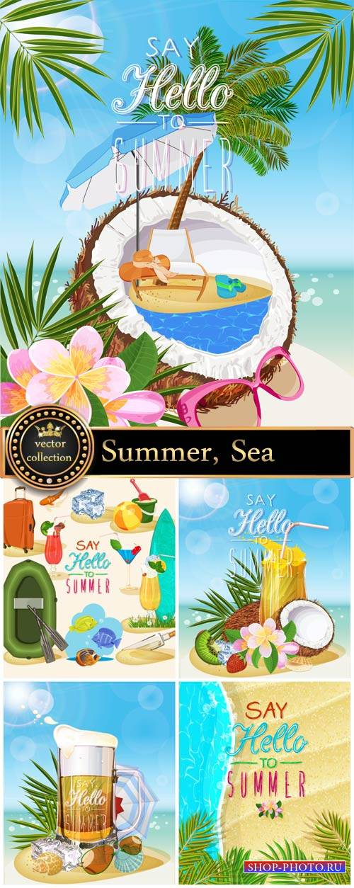 Summer attributes, marine vector backgrounds and elements