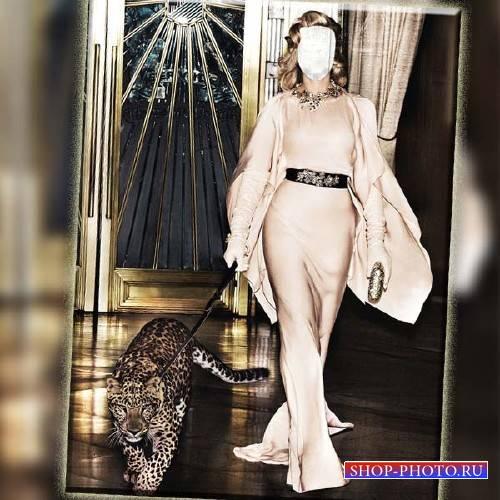 Фото шаблон - В платье с леопардом