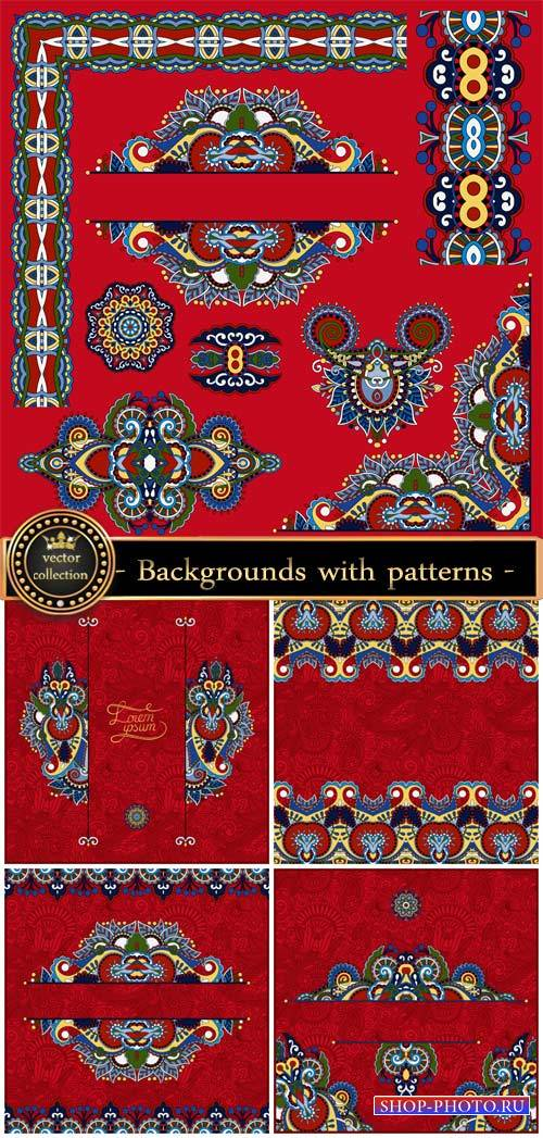 Design elements, vector backgrounds with patterns