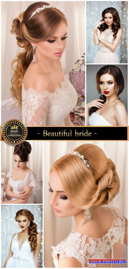 Beautiful bride with different hairstyles - stock photos