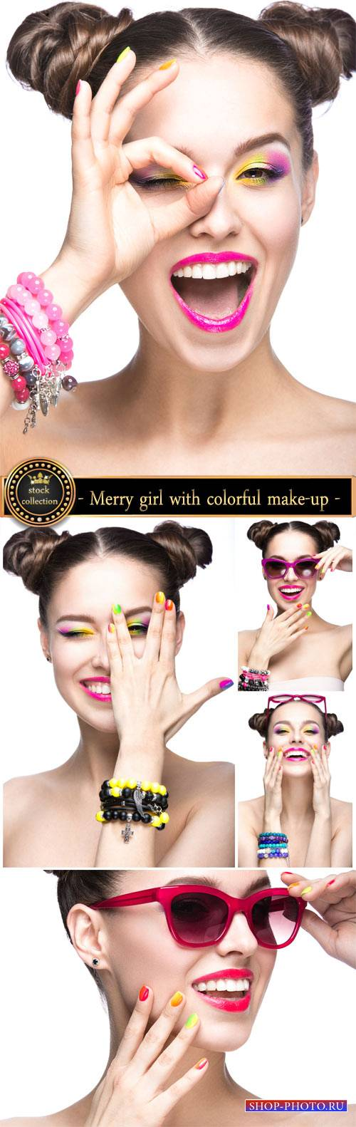 Funny girl with colorful make-up - stock photos