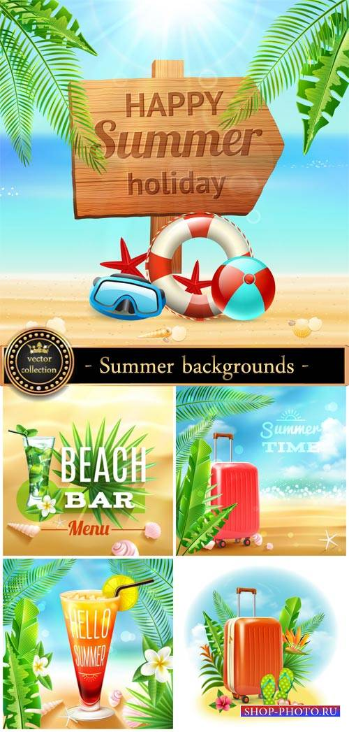 Marine summer backgrounds vector