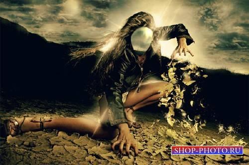 Женский фото шаблон - Загадочная девушка