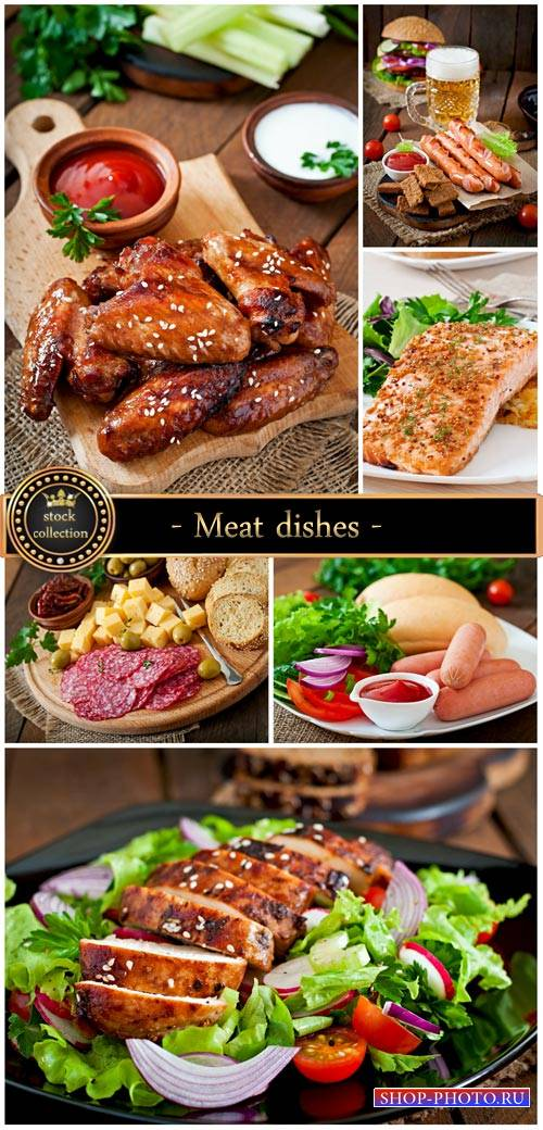Meat dishes, delicious food - stock photos