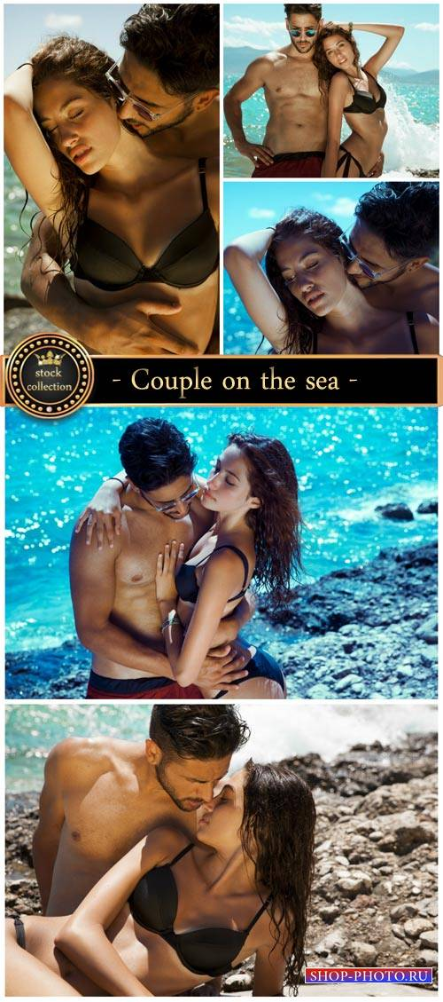 Couple on the sea - stock photos