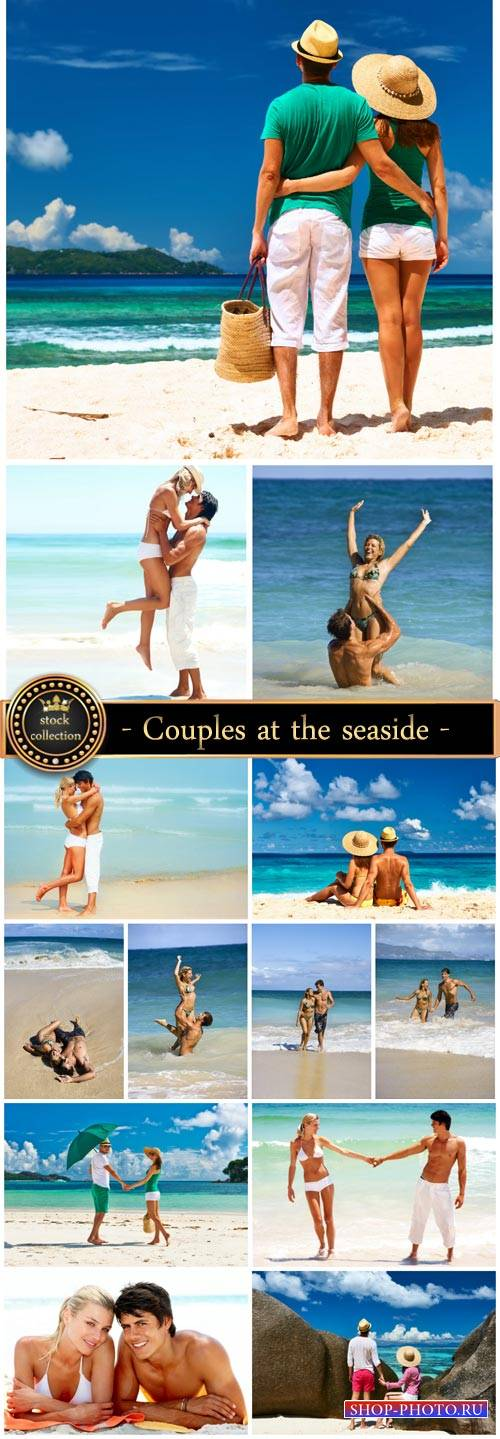Couples at the seaside - Stock Photo