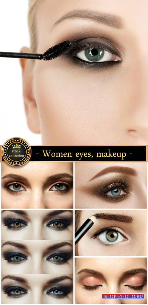 Women eye, makeup - stock photos