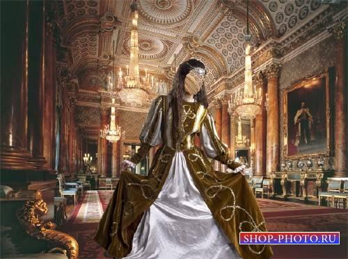 Шаблон для фотошопа - В царском дворце дама в платье