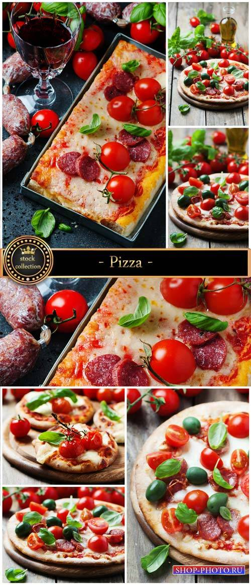 Pizza with tomato and salami - Stock Photo
