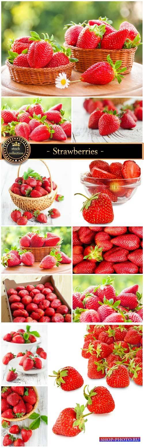 Strawberries, fresh berries - Stock Photo