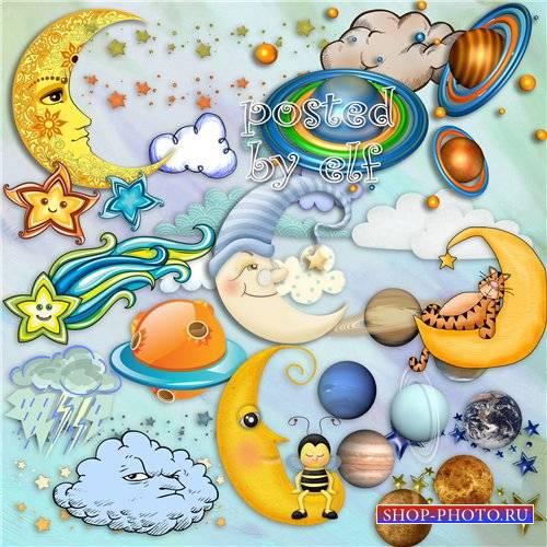 Месяц, облака, звезды, планеты  - клипарт в png