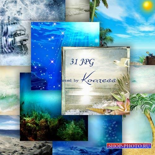 Набор фонов для дизайна - Плеск морской волны