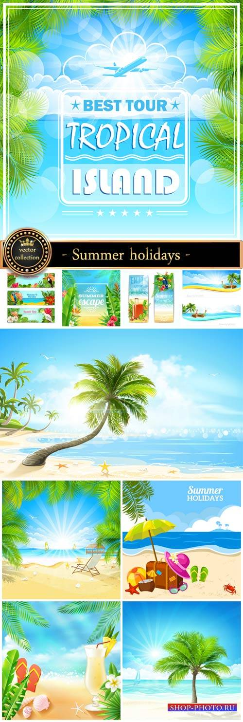 Summer vacation at sea, vector backgrounds and banners