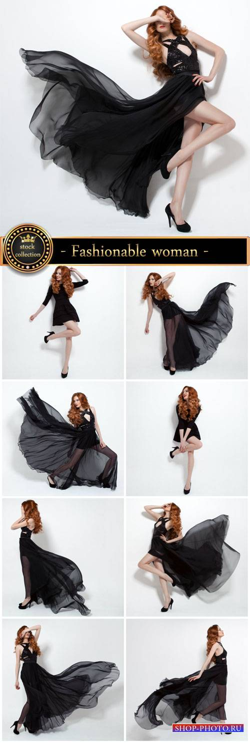 Fashionable woman in a beautiful black dress - Stock Photo