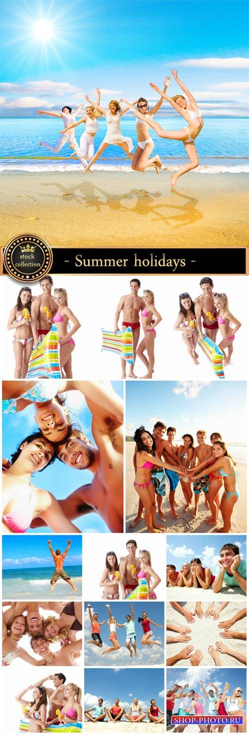 Summer holidays by the sea, cheerful company of people - Stock Photo