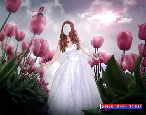 Шаблон женский - Принцесса среди цветов