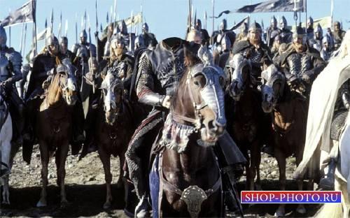 PSD шаблон для мужчин - Рыцарь на поле боя