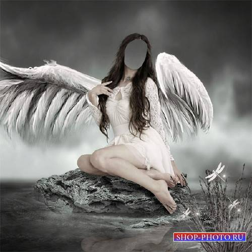 PSD шаблон для девушек - Ангел возле воды
