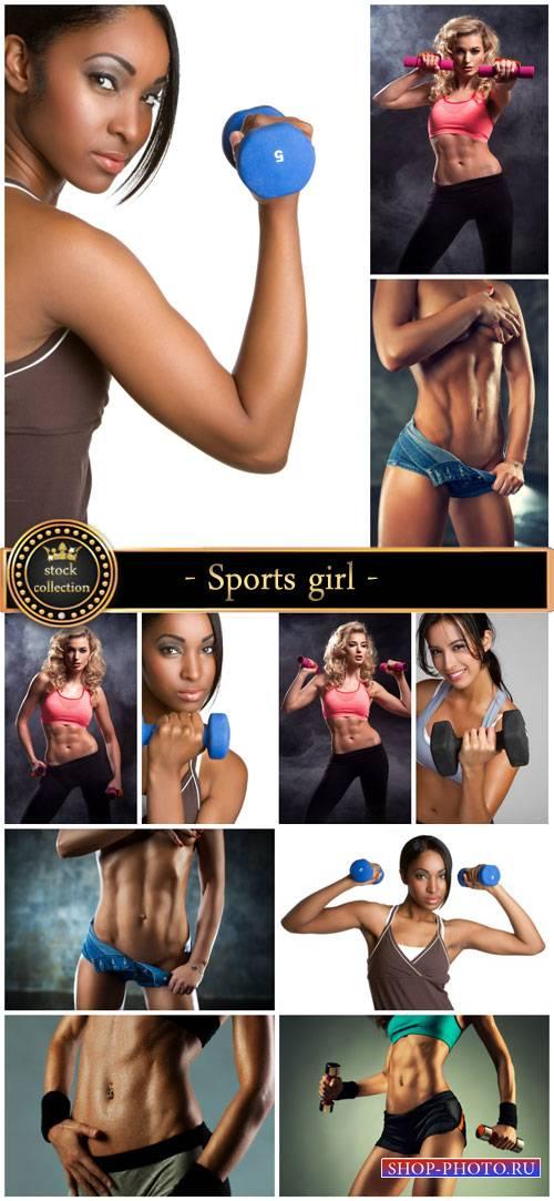 Sports girl, beautiful female body - Stock Photo