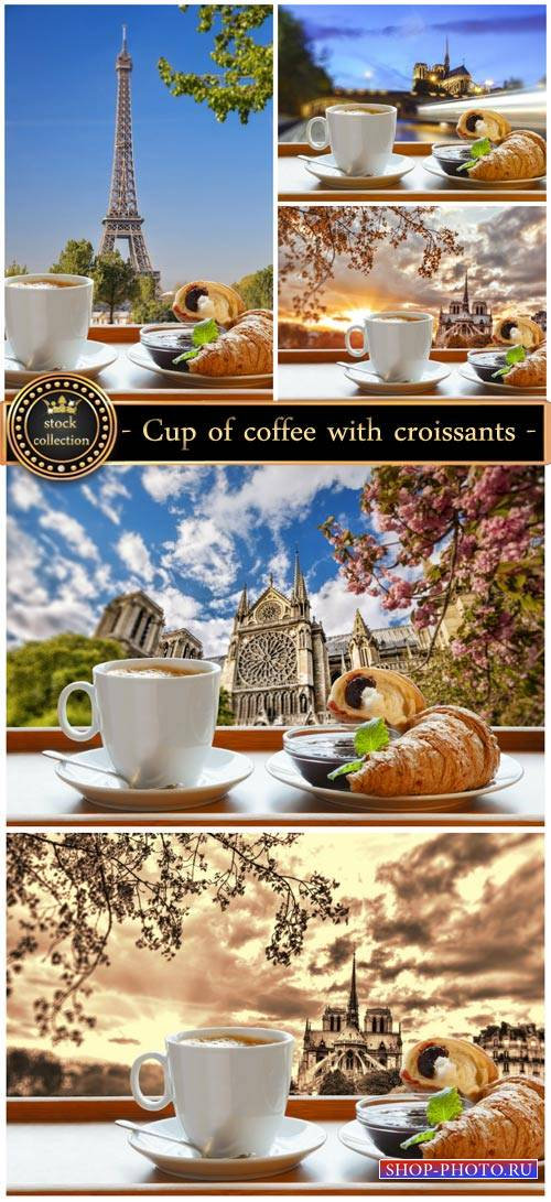 Cup of coffee with croissants - Stock photo