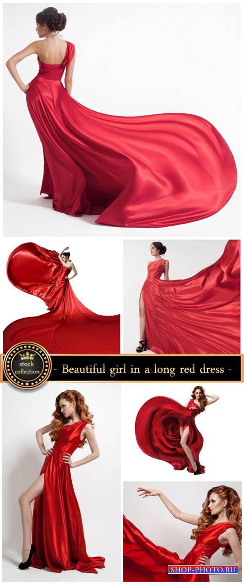 Beautiful girl in a long red dress - Stock Photo