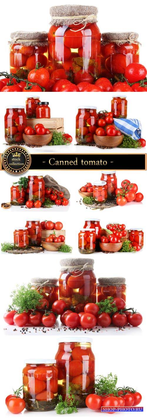 Canned tomato, fresh vegetables - Stock Photo