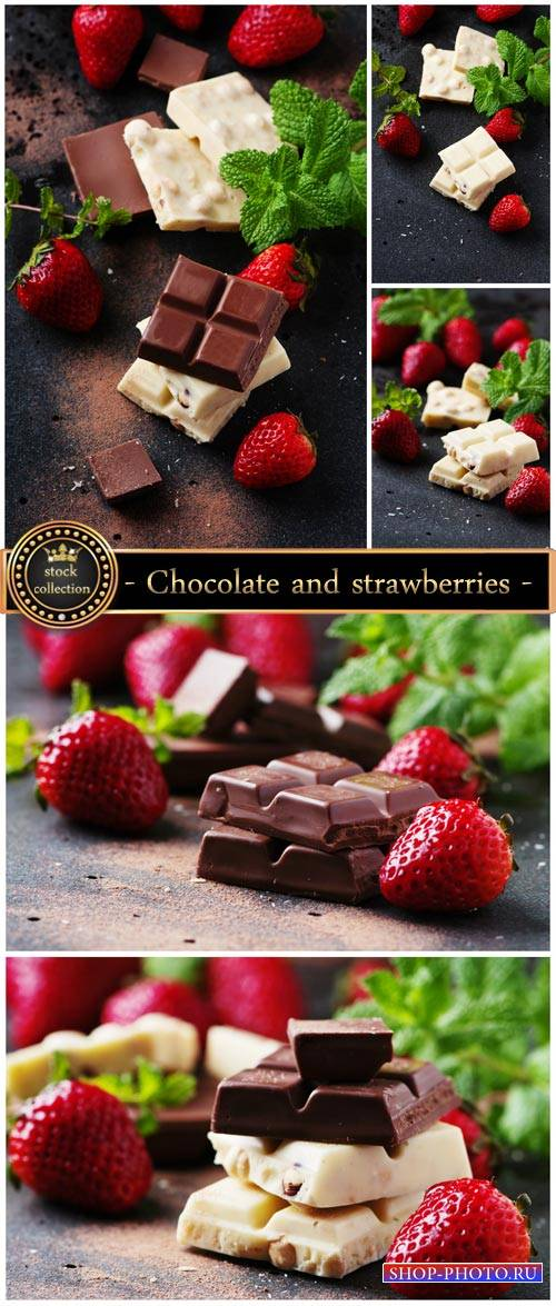 Chocolate and strawberries - stock photos