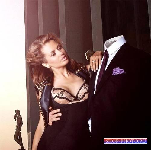 Photoshop шаблон - В обнимку с красивой девушкой