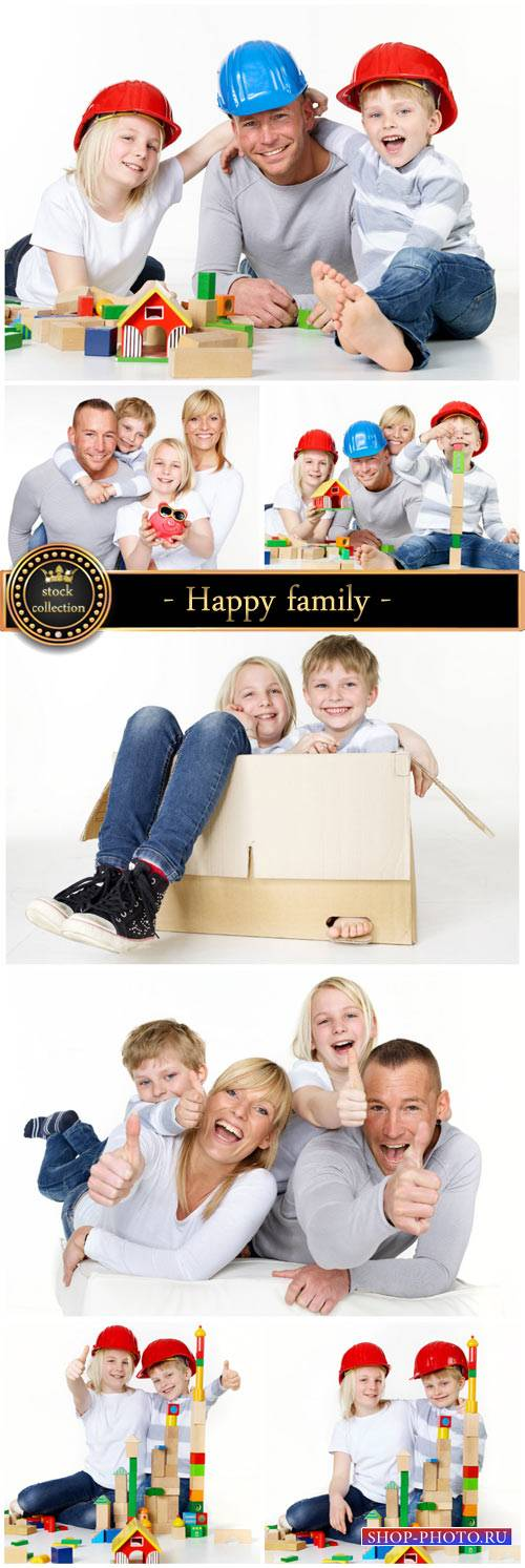 Happy family is planning to build a house - stock photos