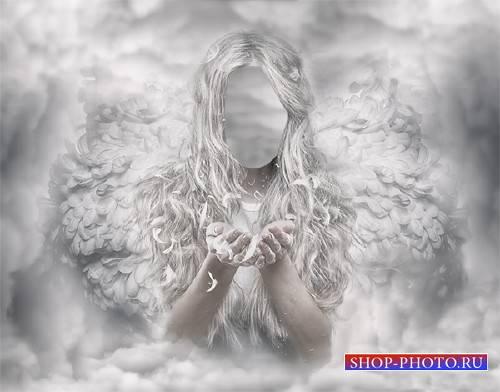 Photoshop шаблон - Ангел среди облаков