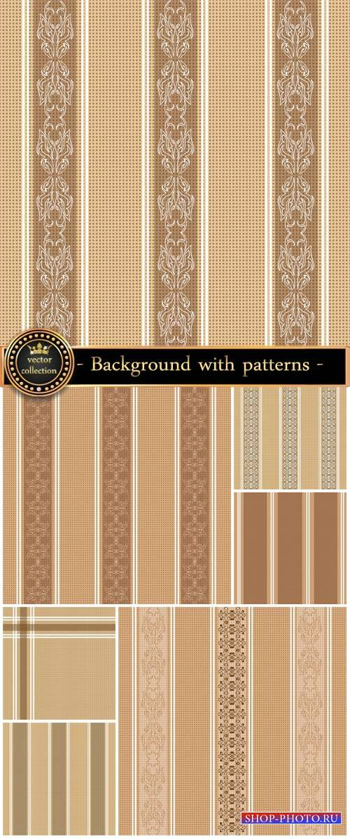 Vector brown background with patterns and stripes
