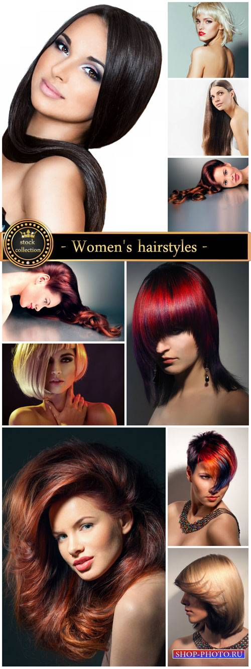 Fashionable women's hairstyles, beautiful women - Stock Photo