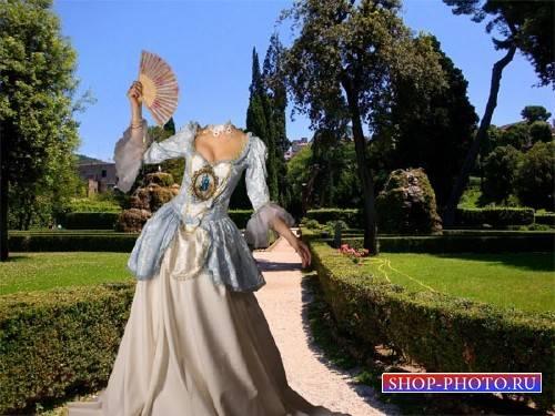 Шаблон psd - Барышня в старинном платье