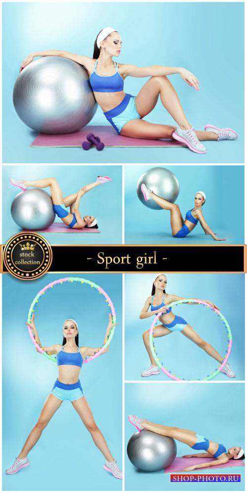 Sport girl with ball for fitness - stock photos