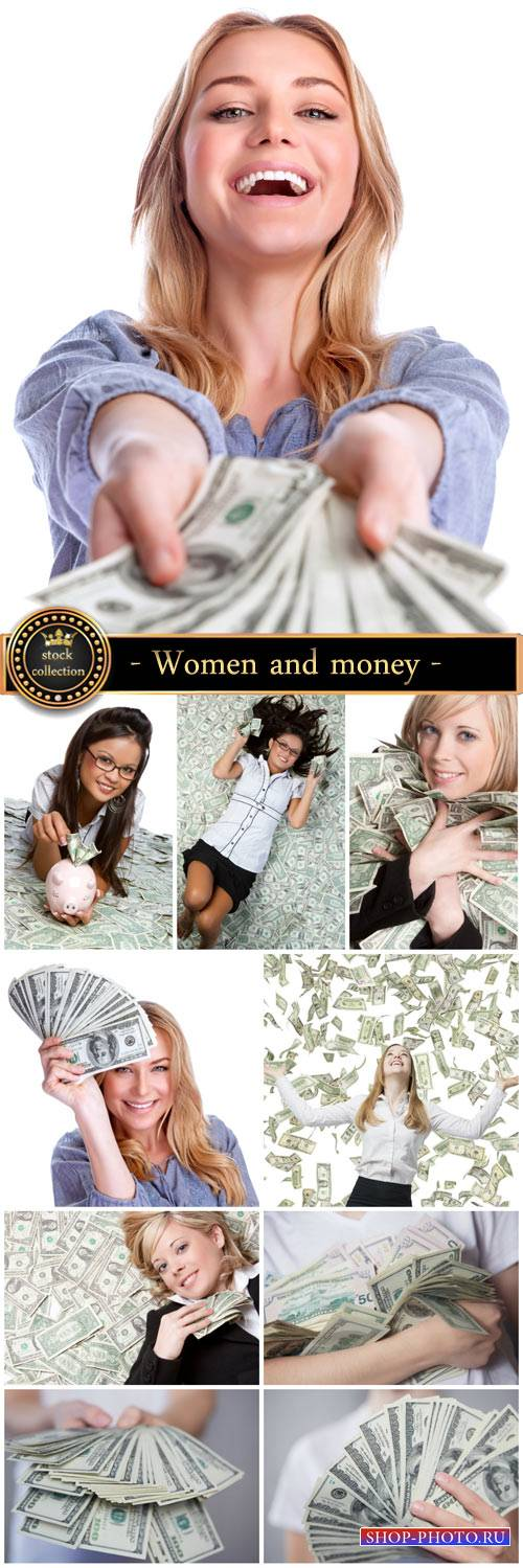 Women and money - stock photos
