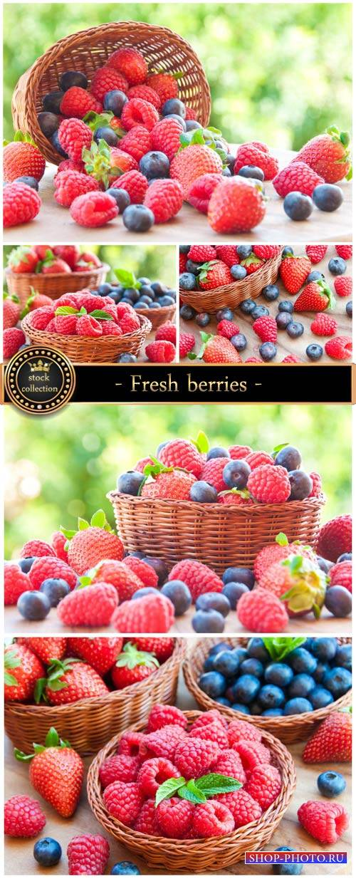 Fresh berries in a basket - Stock Photo