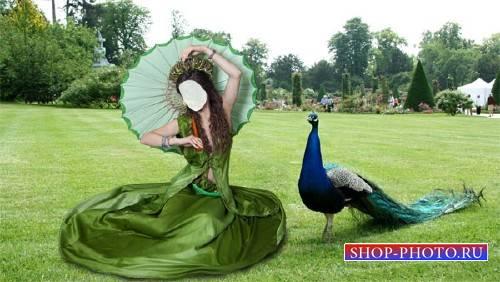 Шаблон psd женский - На отдыхе в зеленом платье и зонтом