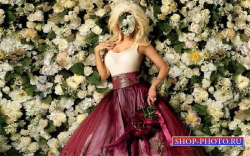 Шаблон для Photoshop - В платье среди роз