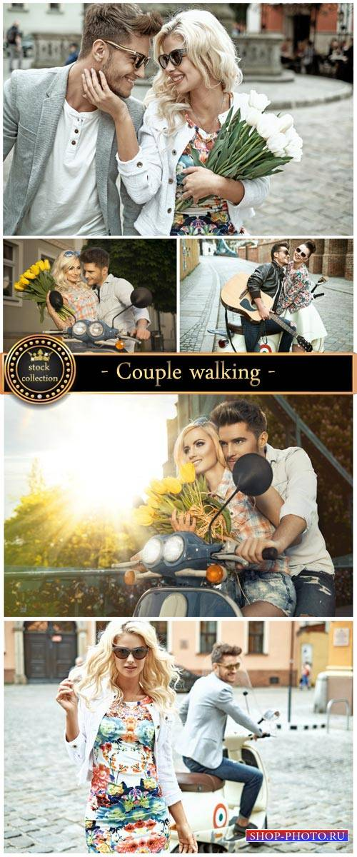 Couple walking - Stock Photo