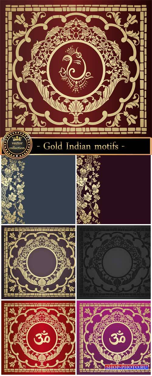 Gold Indian motifs, vector backgrounds