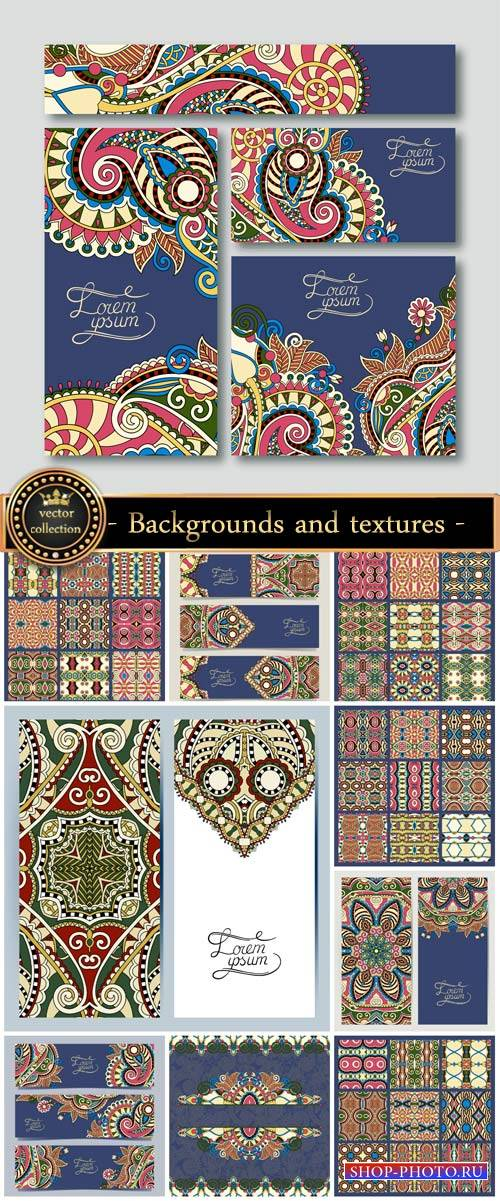 Backgrounds and textures vector, floral patterns