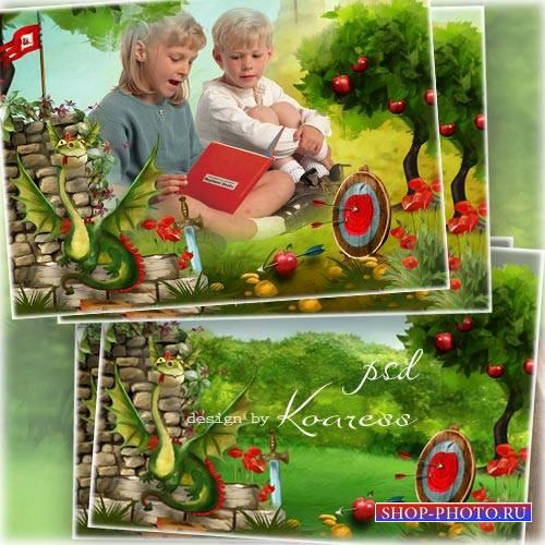 Детская рамка для фотошопа - В мире любимых сказок
