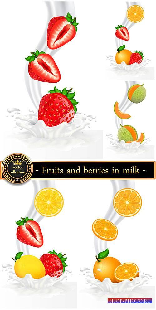 Fruits and berries in milk, vector