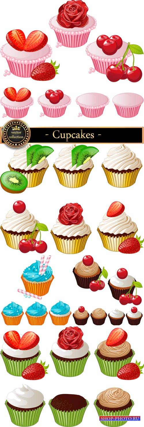 Cupcakes with cherry and strawberry vector