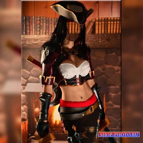 Шаблон psd - Пиратка с мечом