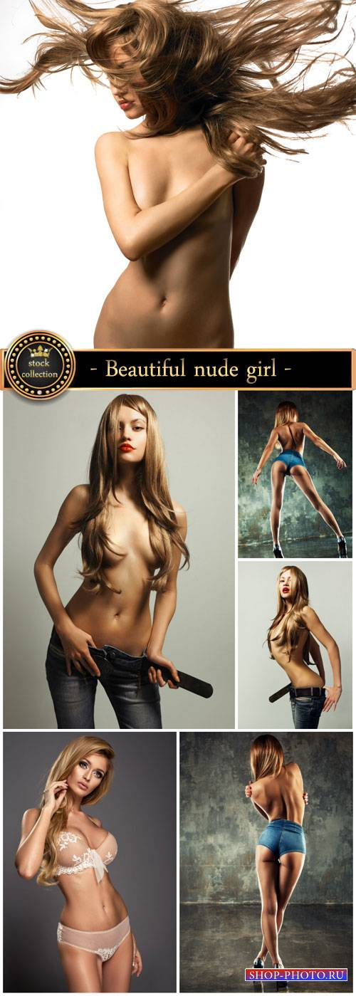 Beautiful nude girl with long hair - Stock Photo