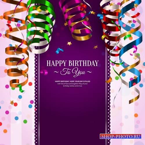 Vector birthday card with flags and ribbons