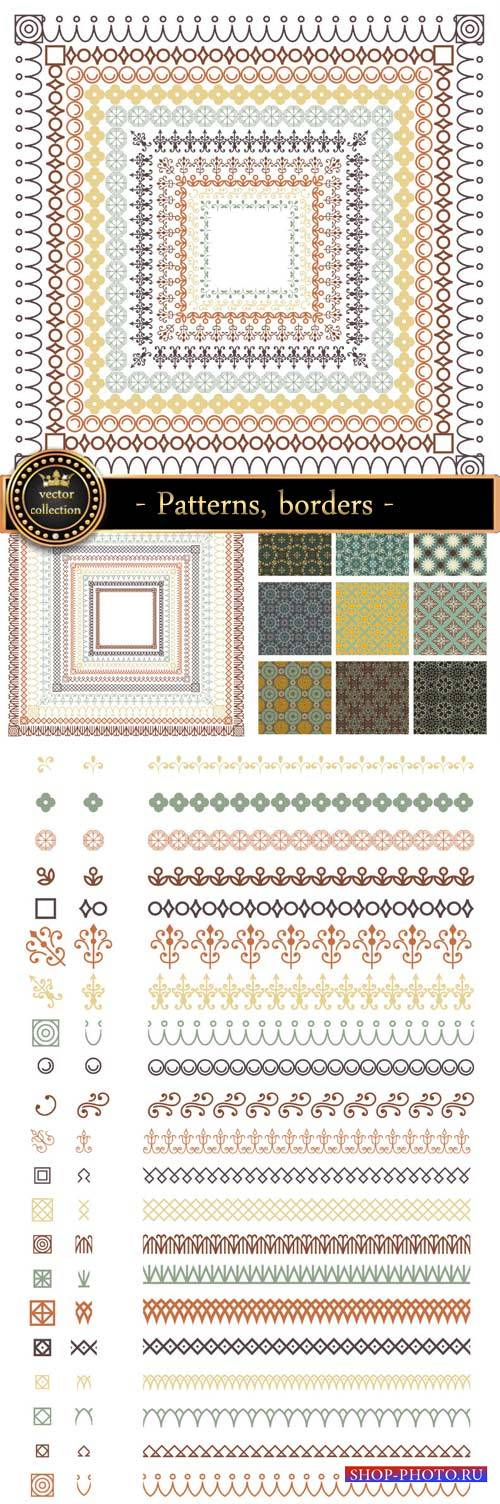 Patterns, borders, decorative elements vector
