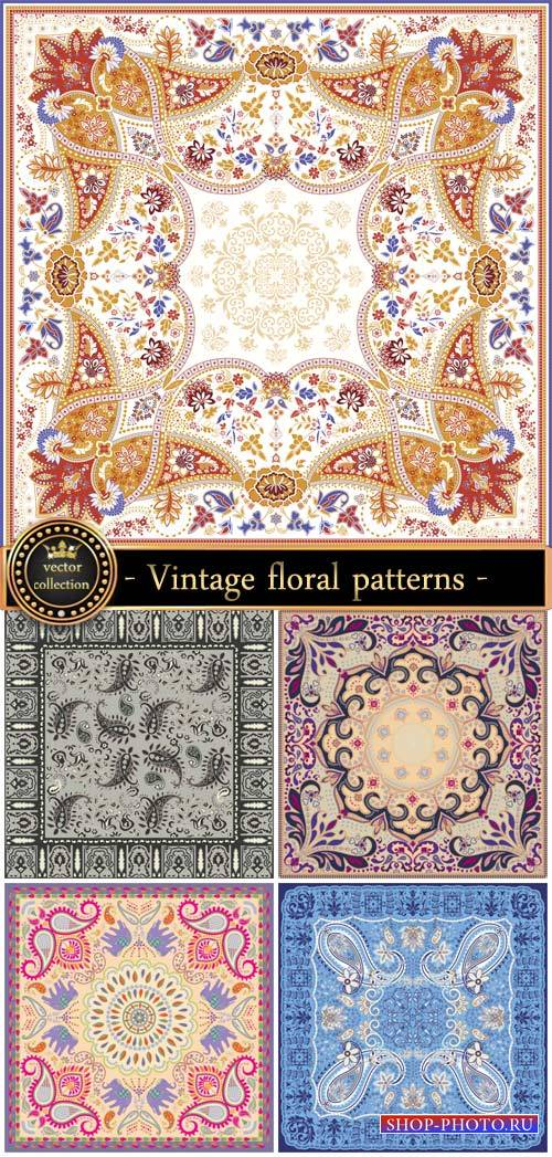 Vector backgrounds, vintage floral patterns