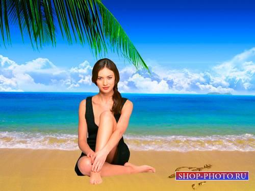 Шаблон для фотошопа  - Девушка у моря